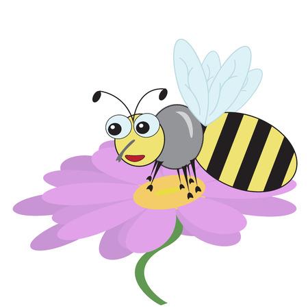 good fun bee sat on a purple daisy flower