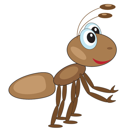 Funny surprised ant forward with outstretched paws on a white background Illustration