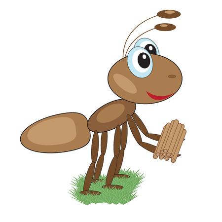 Funny happy ant carries an armful of firewood on their paws on a white background Illustration