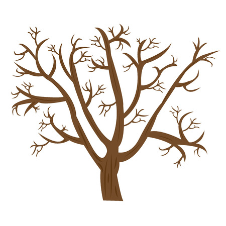 old dry tree without leaves with rough bark on a white background. Vector illustration Illustration