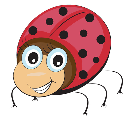 cilia: Funny ladybug in cartoon style eyes with cilia smiling on white background. Vector illustration