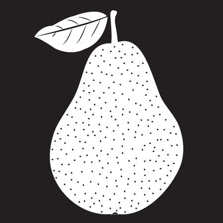 Stencil pear with handle and leaf transparent on a black background. Vector illustration Illustration