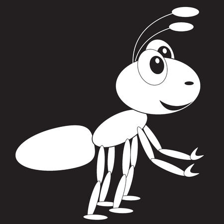 Stencil funny surprised ant forward with outstretched paws transparent on a black background Illustration