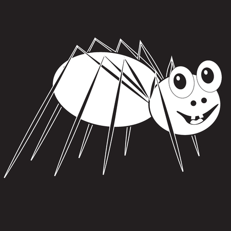 Stencil funny smiling spider transparent on a black background 向量圖像