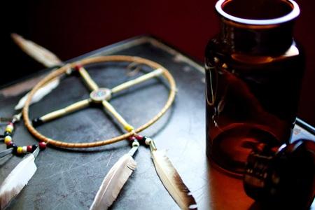 Medicine wheel and tonic bottle