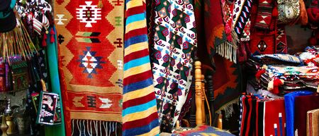 Colorful rug in a market