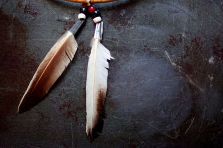 Feathers and Medicine wheel Stock Photo