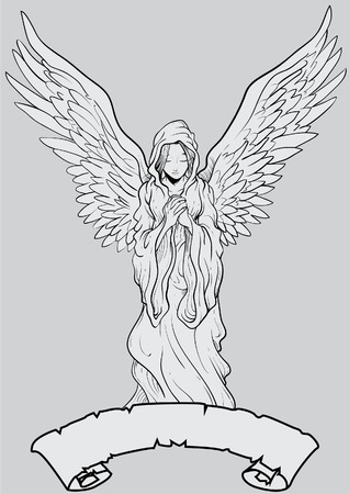 Vector illustration of a hand drawn angelic figure