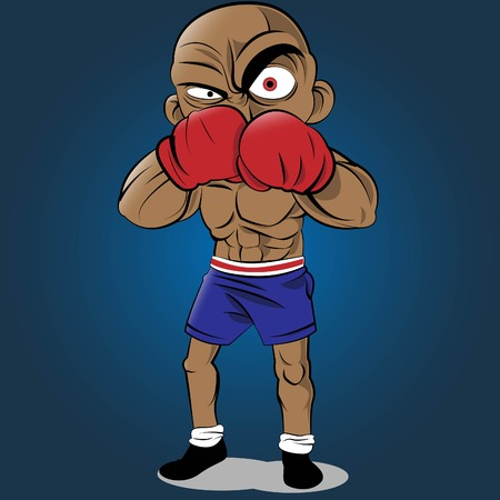 jab: Vector illustration of a boxing athlete