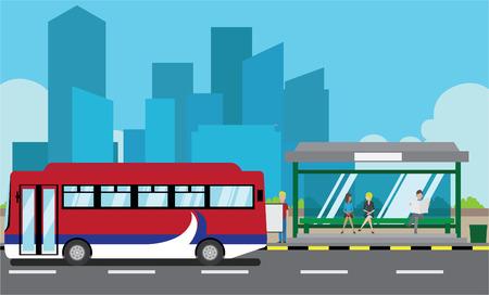 parada de autobus: Ilustraci�n vectorial de una parada de autob�s Vectores