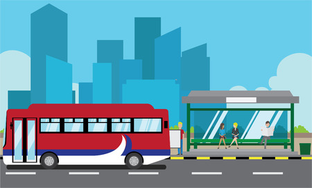 Vector illustration of a bus stop