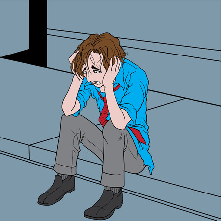 agitated: Vector illustration of a depressed man