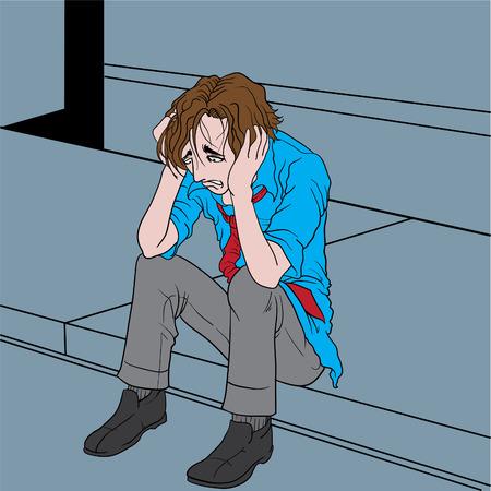 salary man: Vector illustration of a depressed man