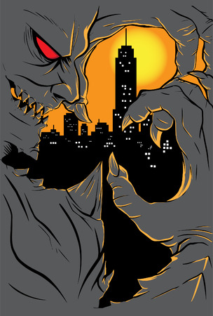 hades: illustration of demon grasping city