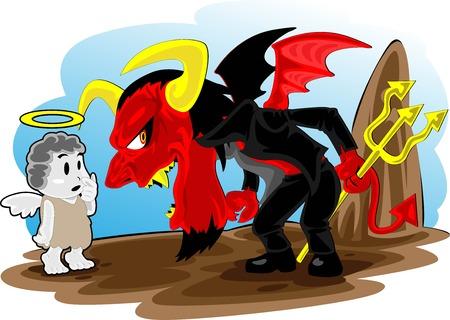 provoke: illustration of demon and angel