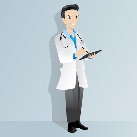 mature adult: illustration of a doctor Illustration