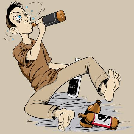 drunkard: illustration of a drunk man