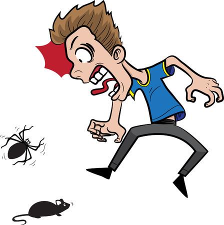 spider man: illustration of a man afraid of spider  mouse