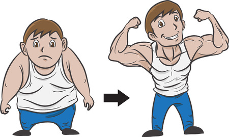illustration of a man transform from fat to muscular Vector
