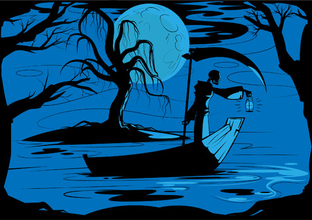 illustration of grim reaper on his journey to to underworld