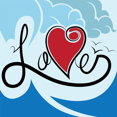 illustration of love typography