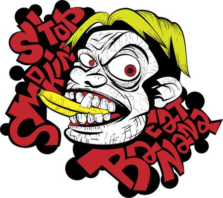 Vector illustration of a saying stop smoking and eat banana