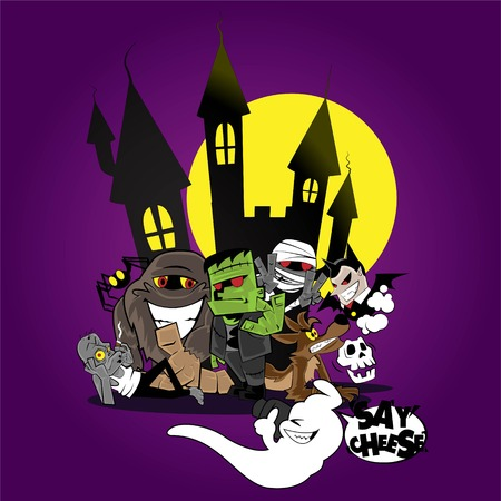Vector illustration of ghost and monster taking family portrait Vector