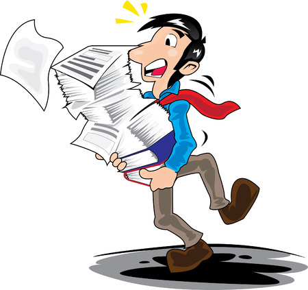 clumsy: Vector illustration of man carrying many paper at office