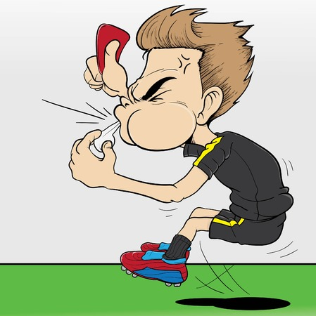 Vector illustration of a referee giving red card