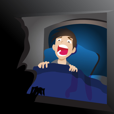 scare: illustration of a scared boy