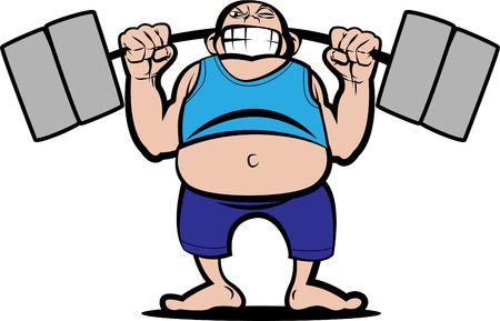 over weight: illustration of a man lifting weight