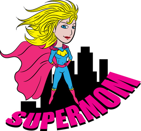 illustration of a superhero mom Illustration