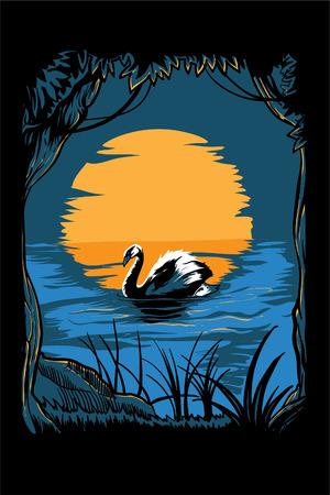 sullen: Illustrazione vettoriale di un cigno in un lago