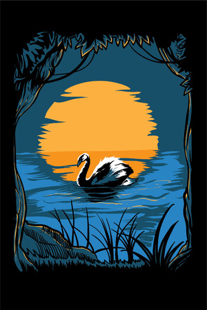 Vector illustration of a swan in a lake