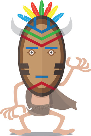 nomad: Vector illustration of a primitive people using mask