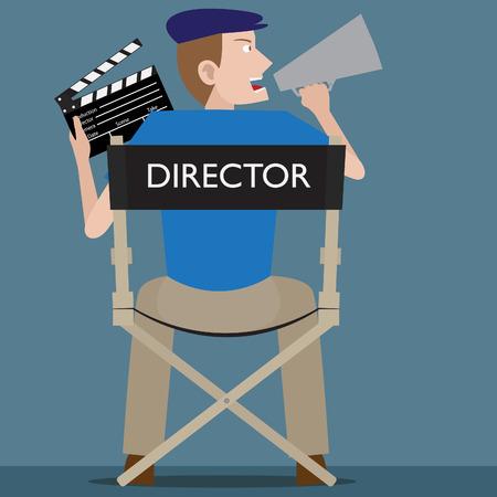 filmregisseur: Filmregisseur zit op zijn stoel met clapperboard op zijn hand