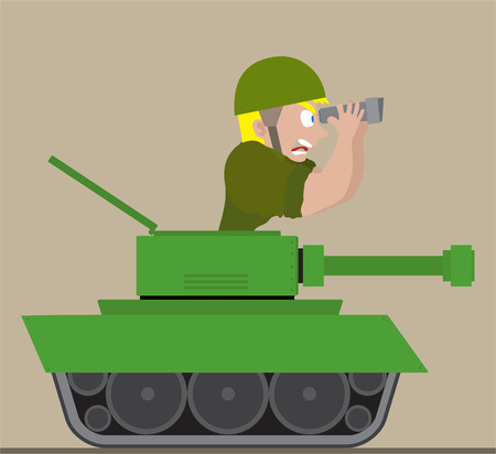 raid: Illustration of man in tank Illustration