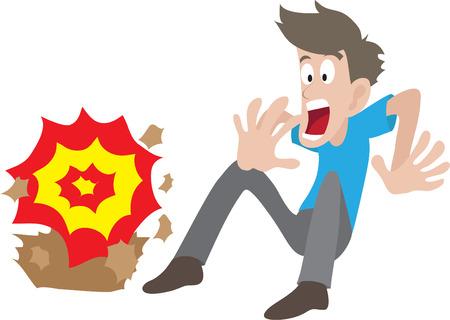 prank: Illustration of man startled by explosion Illustration