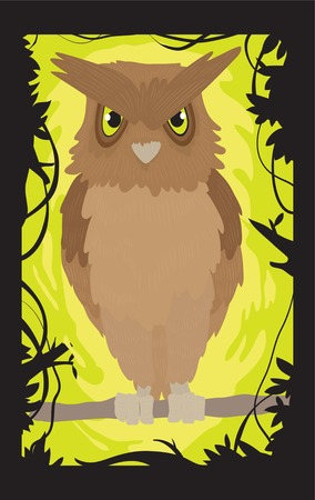 chain food: Owl on a tree branch Illustration