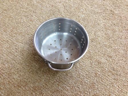 a colander: Silver colander