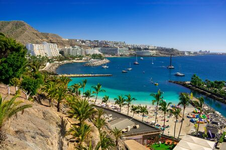 Beautiful beach whit palms and boat view in the south of gran canaria island.