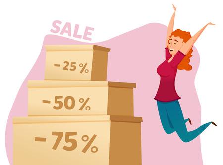 big sales: Happy jumping woman. big sales, discount. Illustration