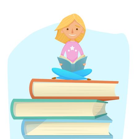 Jong meisje lezen, studeren, zitten op gigantische boeken.