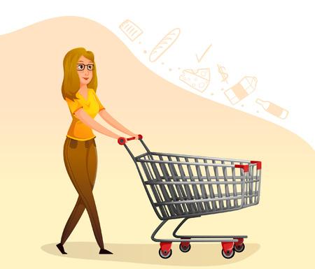 mujer morena de belleza con carrito de compras. Vectores