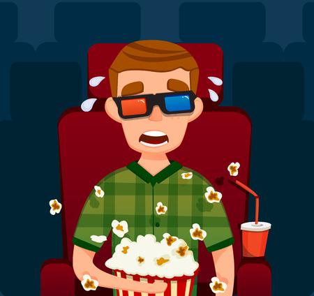 Boy en el cine 3D. ilustración plana. El hombre se sienta Película de observación. Con Palomitas. Ilustración plana