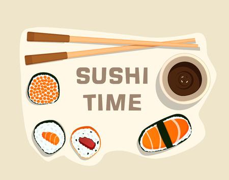 Sushi set, sushi time,flat food and japanese seafood sushi rolls