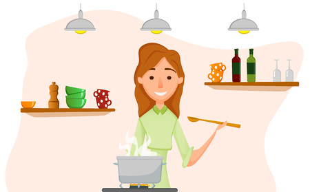 Mother cooking. illustration of a woman cooking in the kitchen. Vectores