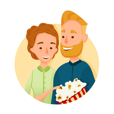 Flat couple. People in Cinema. with popcorn. Illustration. Couple in love in the cinema holding together