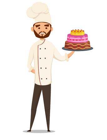 Baker. chef holding cake, illustration fun cartoon Vectores