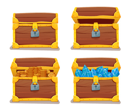 Treasure chest with gems and gold. illustration. isolated on white Illustration